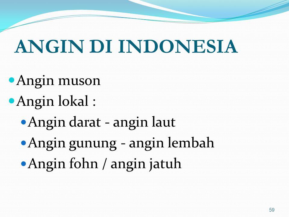 ANGIN DI INDONESIA Angin muson Angin lokal : Angin darat - angin laut