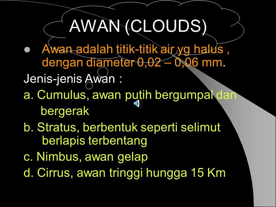 AWAN (CLOUDS) Awan adalah titik-titik air yg halus , dengan diameter 0,02 – 0,06 mm. Jenis-jenis Awan :