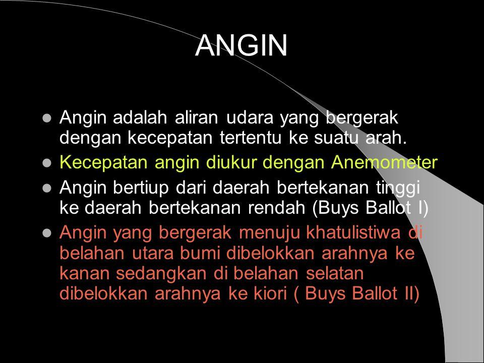 ANGIN Angin adalah aliran udara yang bergerak dengan kecepatan tertentu ke suatu arah. Kecepatan angin diukur dengan Anemometer.