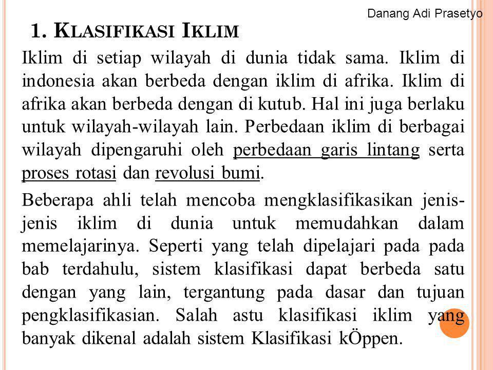 Danang Adi Prasetyo 1. Klasifikasi Iklim.