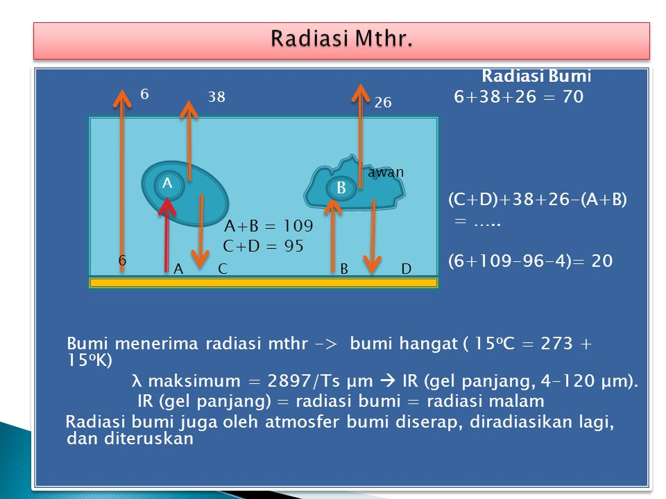 Radiasi Mthr. Radiasi Bumi 6+38+26 = 70 (C+D)+38+26-(A+B) = …..