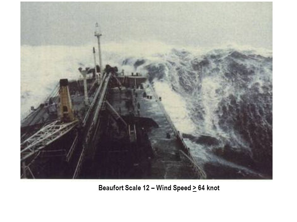 Beaufort Scale 12 – Wind Speed > 64 knot