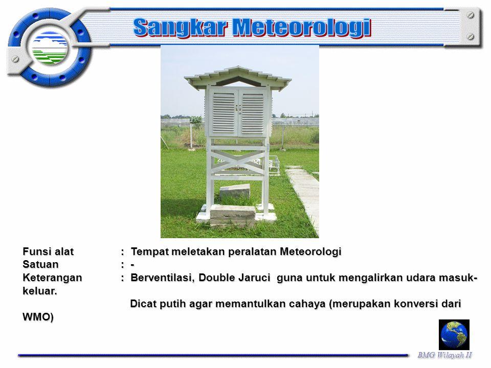 Sangkar Meteorologi Funsi alat : Tempat meletakan peralatan Meteorologi. Satuan : -
