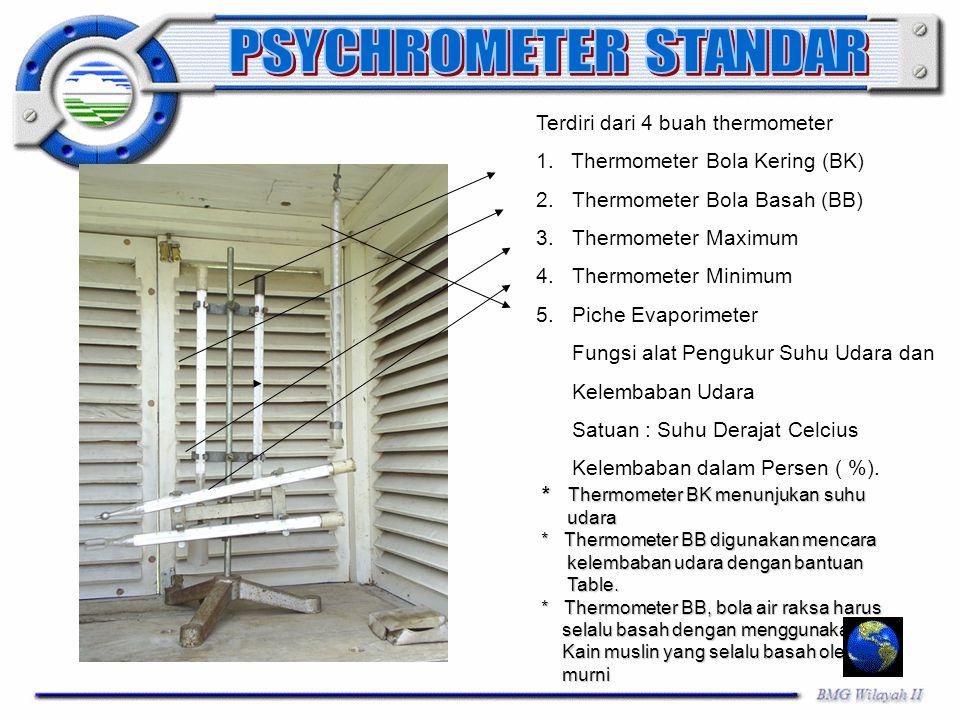 PSYCHROMETER STANDAR Terdiri dari 4 buah thermometer