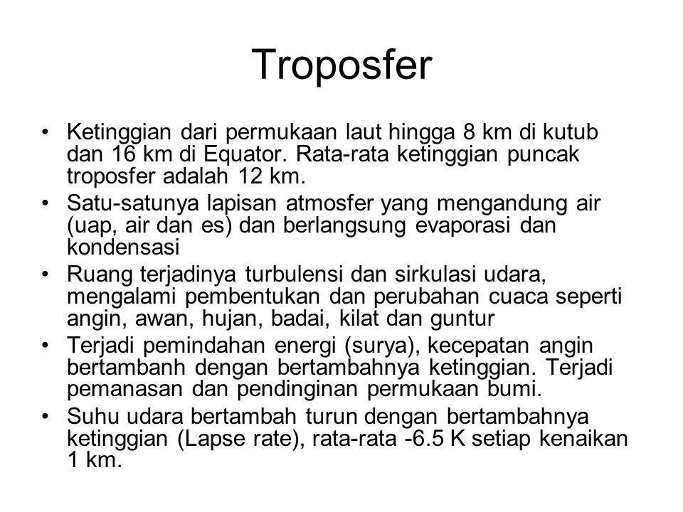 Troposfer Ketinggian dari permukaan laut hingga 8 km di kutub dan 16 km di Equator. Rata-rata ketinggian puncak troposfer adalah 12 km.