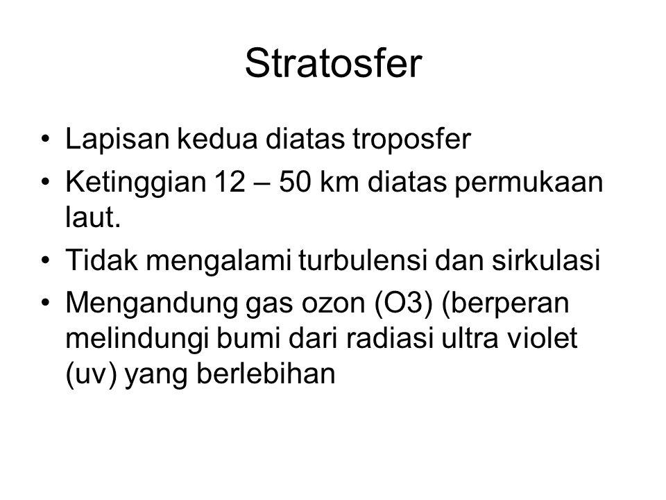 Stratosfer Lapisan kedua diatas troposfer