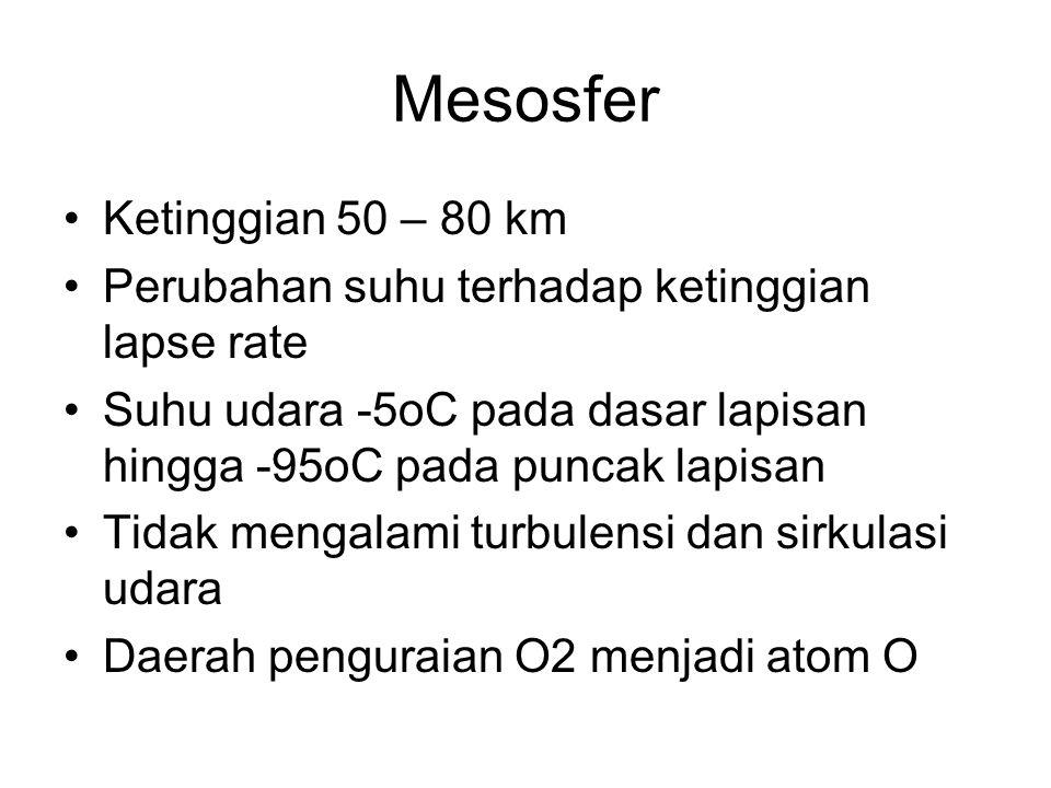 Mesosfer Ketinggian 50 – 80 km