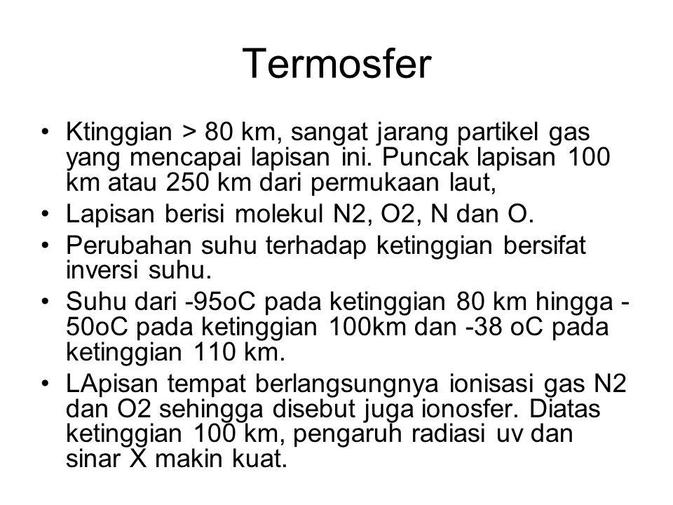 Termosfer Ktinggian > 80 km, sangat jarang partikel gas yang mencapai lapisan ini. Puncak lapisan 100 km atau 250 km dari permukaan laut,