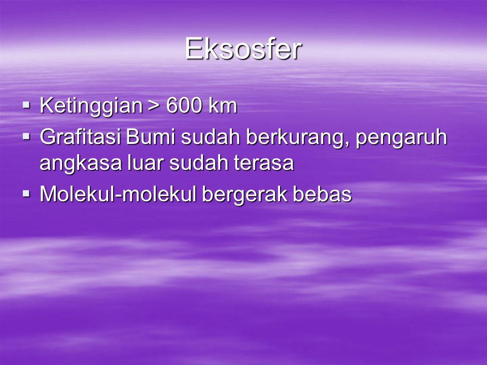 Eksosfer Ketinggian > 600 km