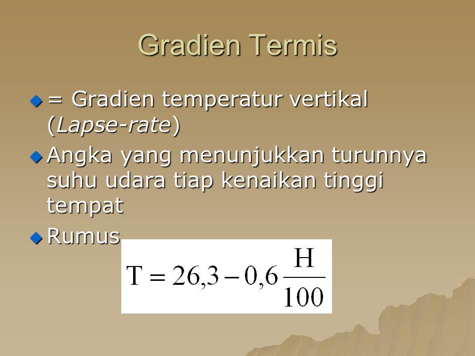 Gradien Termis = Gradien temperatur vertikal (Lapse-rate)
