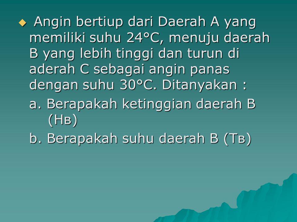 Angin bertiup dari Daerah A yang memiliki suhu 24°C, menuju daerah B yang lebih tinggi dan turun di aderah C sebagai angin panas dengan suhu 30°C. Ditanyakan :