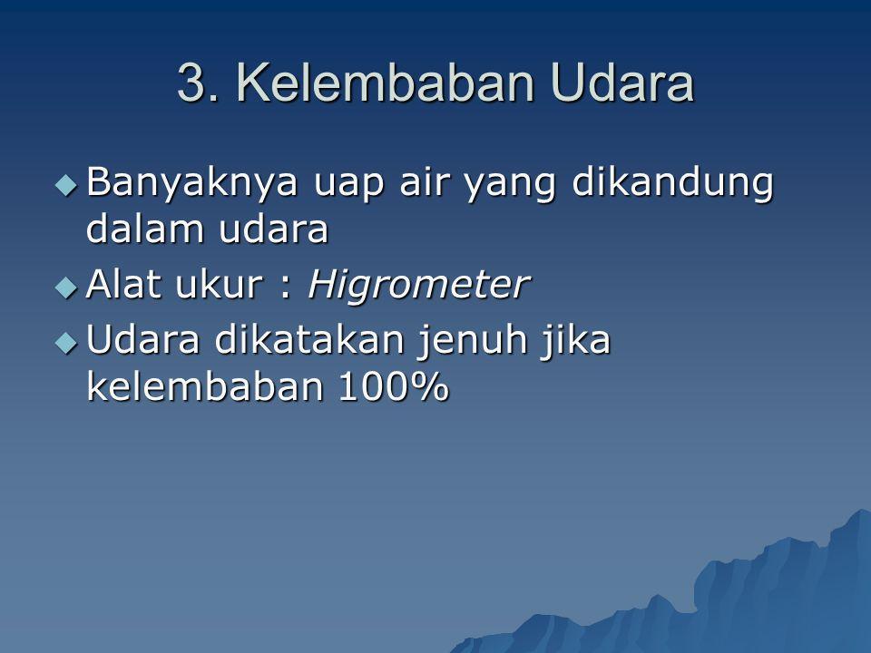 3. Kelembaban Udara Banyaknya uap air yang dikandung dalam udara