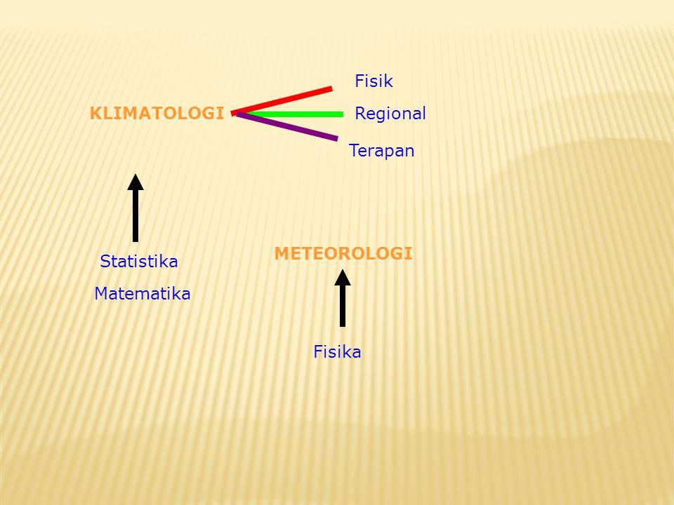 Fisik KLIMATOLOGI Regional Terapan METEOROLOGI Statistika Matematika Fisika