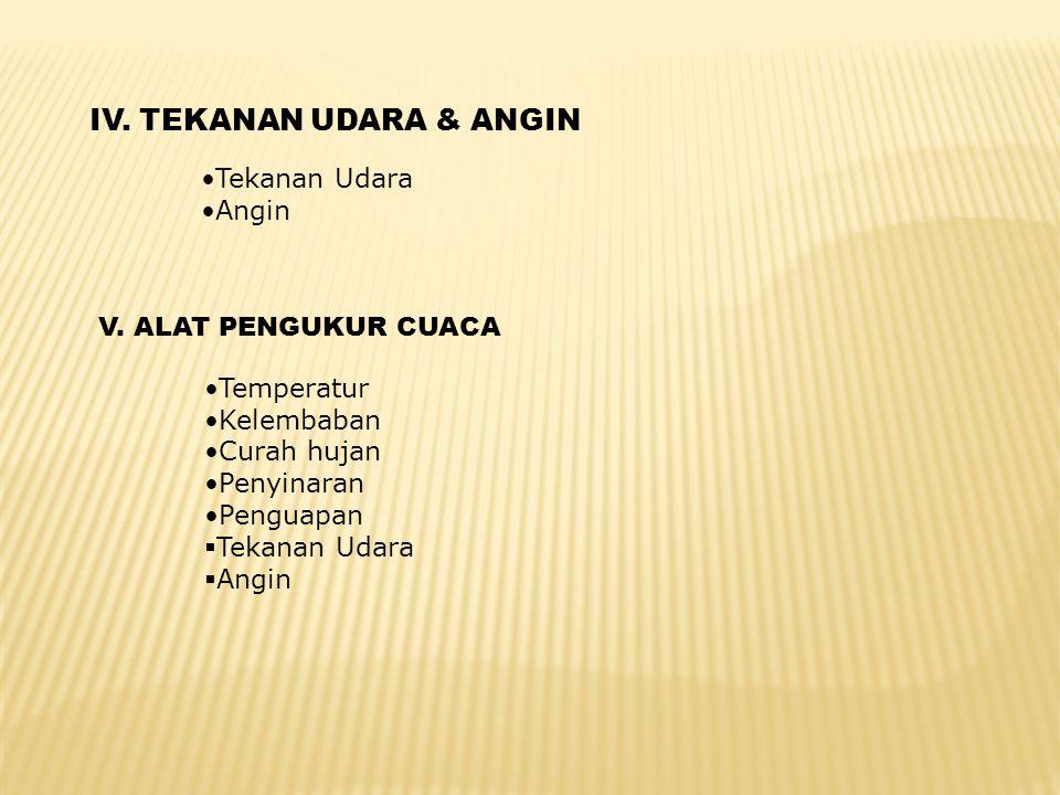 IV. TEKANAN UDARA & ANGIN