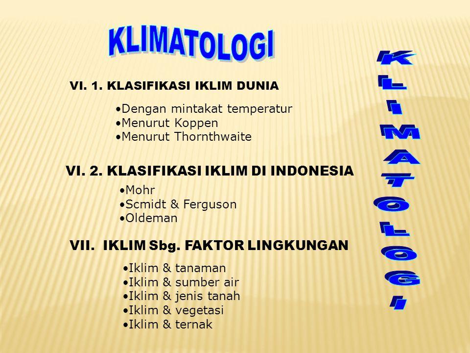 KLIMATOLOGI KLIMATOLOGI VI. 2. KLASIFIKASI IKLIM DI INDONESIA