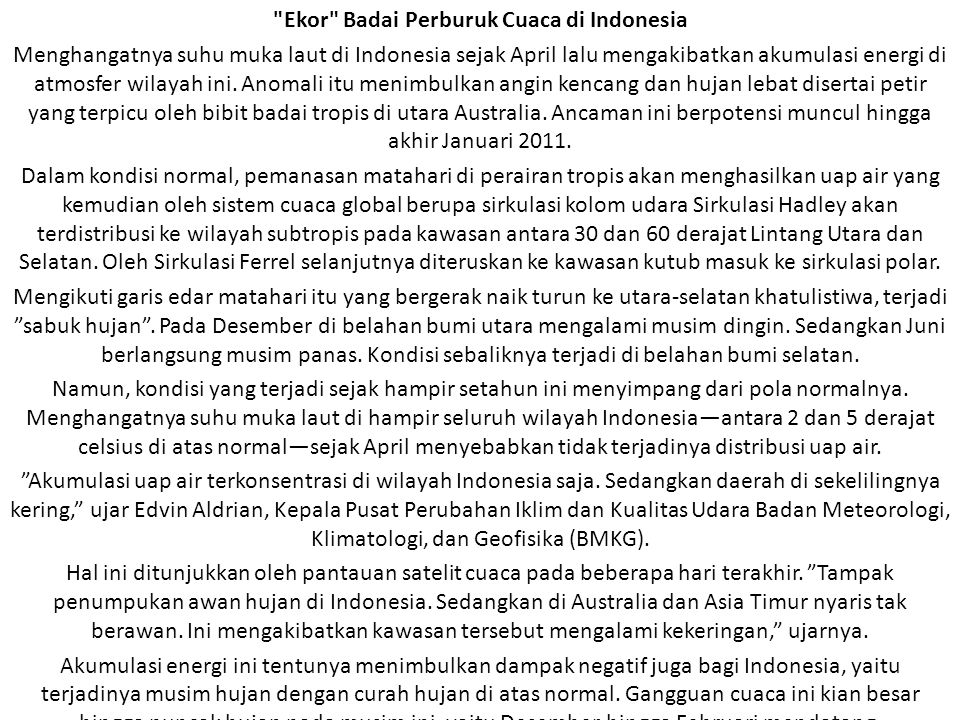 Ekor Badai Perburuk Cuaca di Indonesia