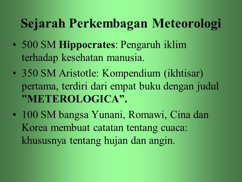 Sejarah Perkembagan Meteorologi