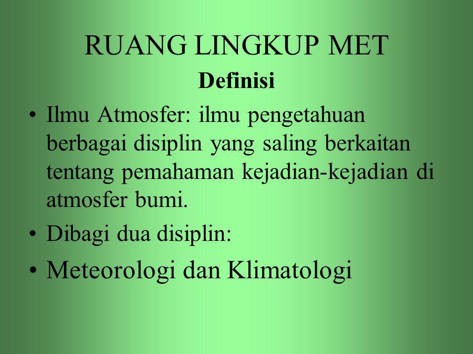 RUANG LINGKUP MET Meteorologi dan Klimatologi Definisi