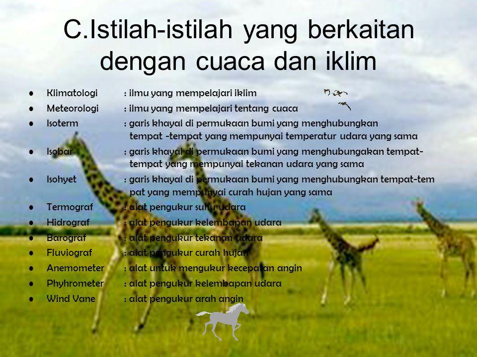 C.Istilah-istilah yang berkaitan dengan cuaca dan iklim