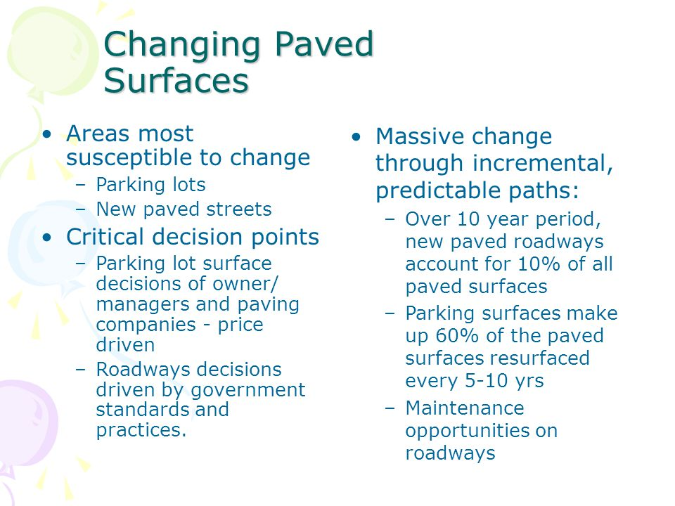 Changing Paved Surfaces