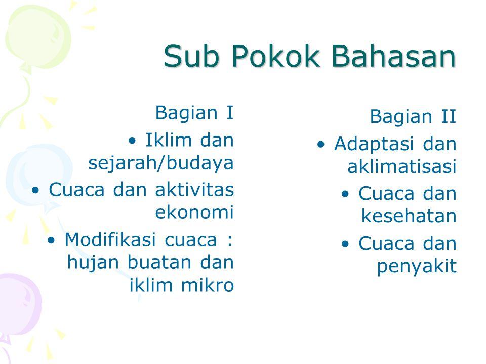 Sub Pokok Bahasan Bagian I Bagian II Iklim dan sejarah/budaya