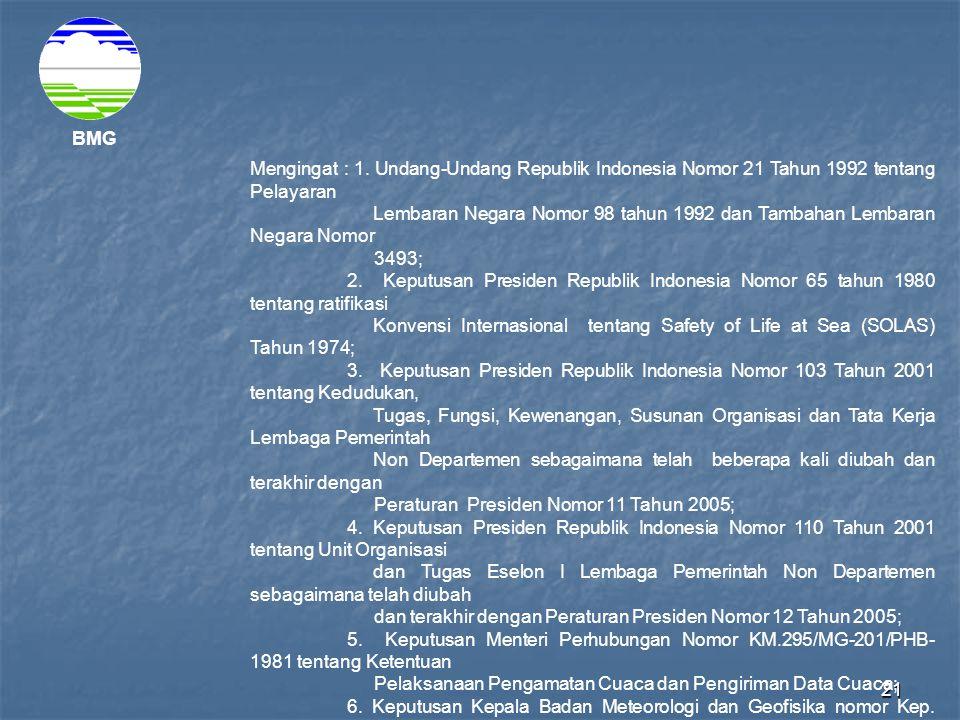 BMG Mengingat : 1. Undang-Undang Republik Indonesia Nomor 21 Tahun 1992 tentang Pelayaran.