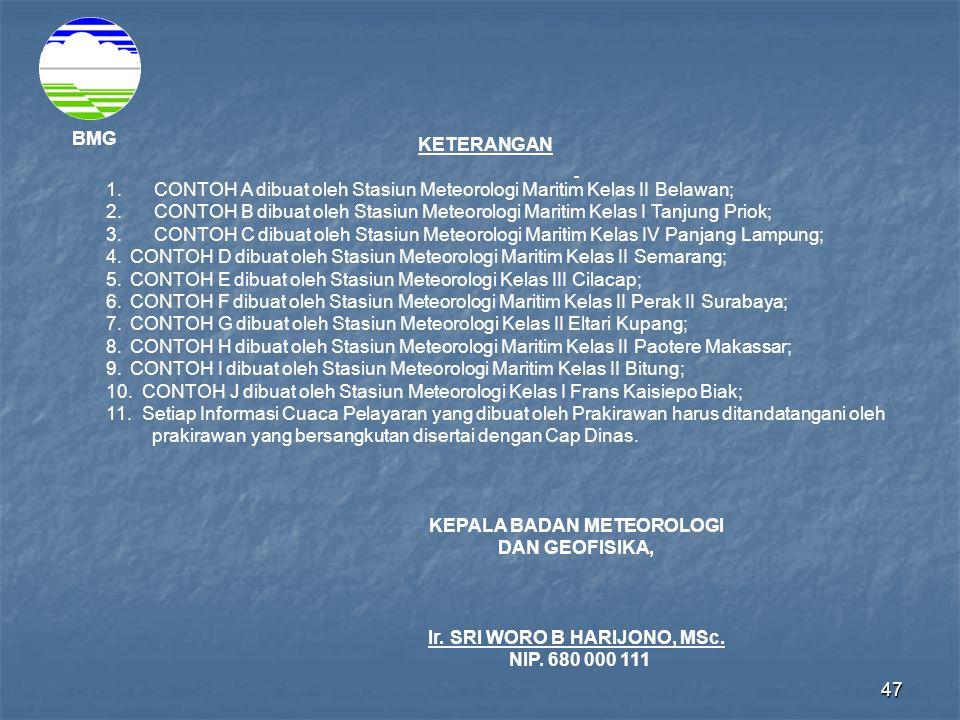 1. CONTOH A dibuat oleh Stasiun Meteorologi Maritim Kelas II Belawan;