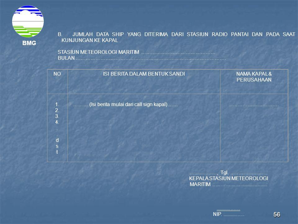 JUMLAH DATA SHIP YANG DITERIMA DARI STASIUN RADIO PANTAI DAN PADA SAAT KUNJUNGAN KE KAPAL