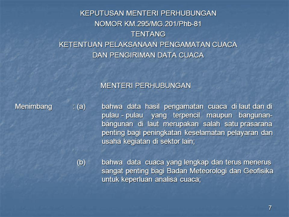 KEPUTUSAN MENTERI PERHUBUNGAN NOMOR KM.295/MG.201/Phb-81 TENTANG