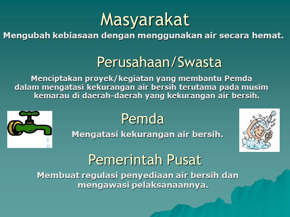 Masyarakat Perusahaan/Swasta Pemda Pemerintah Pusat