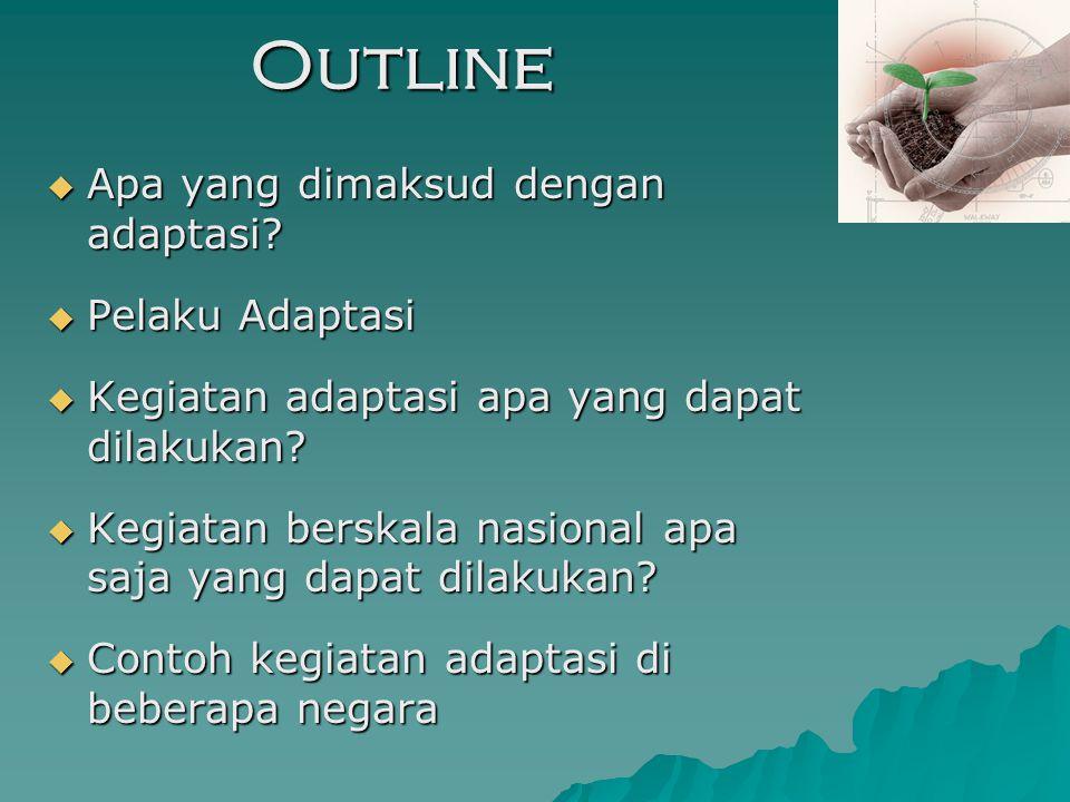 Outline Apa yang dimaksud dengan adaptasi Pelaku Adaptasi