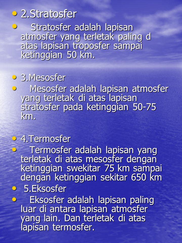 2.Stratosfer Stratosfer adalah lapisan atmosfer yang terletak paling d atas lapisan troposfer sampai ketinggian 50 km.