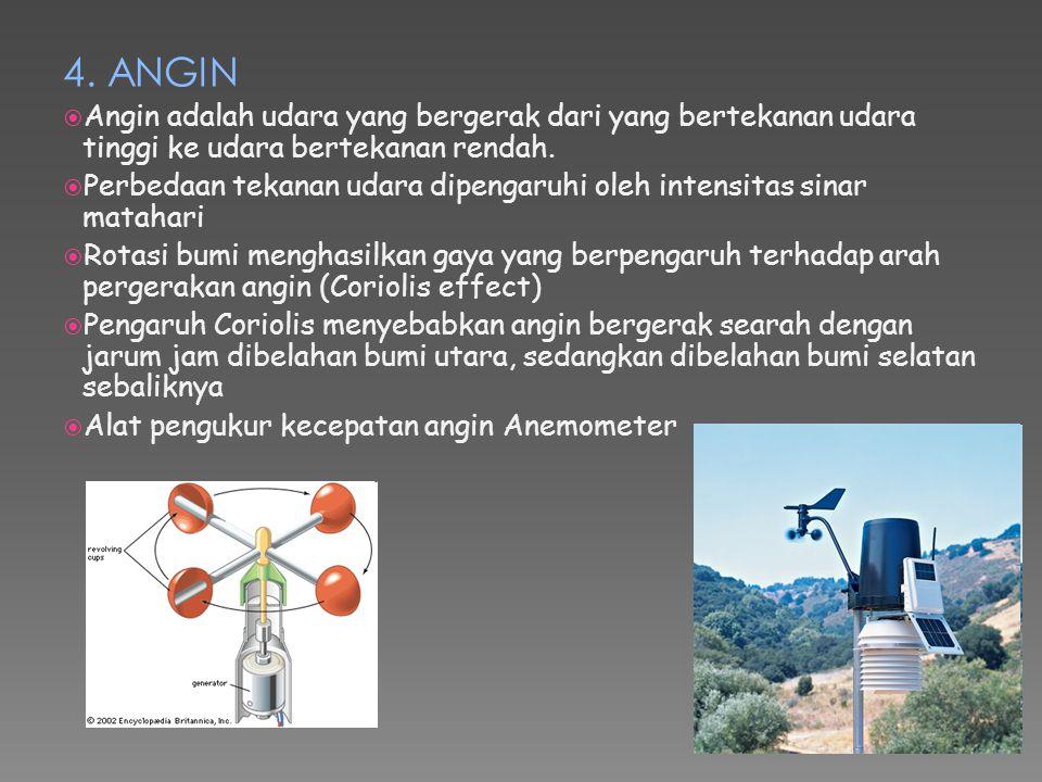 4. ANGIN Angin adalah udara yang bergerak dari yang bertekanan udara tinggi ke udara bertekanan rendah.