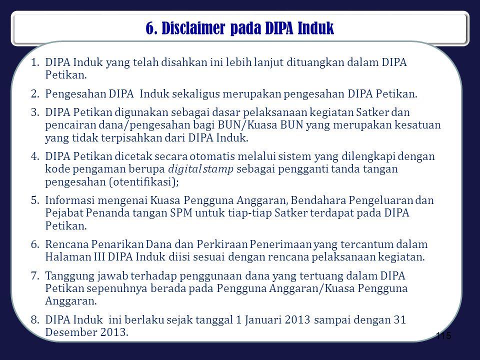 6. Disclaimer pada DIPA Induk