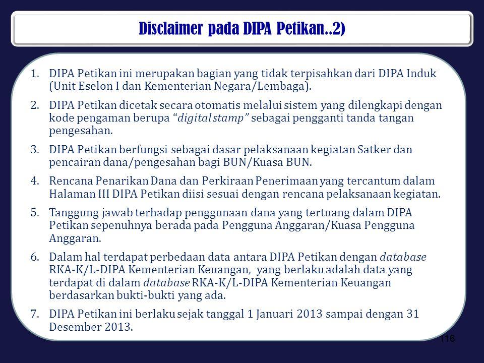 Disclaimer pada DIPA Petikan..2)