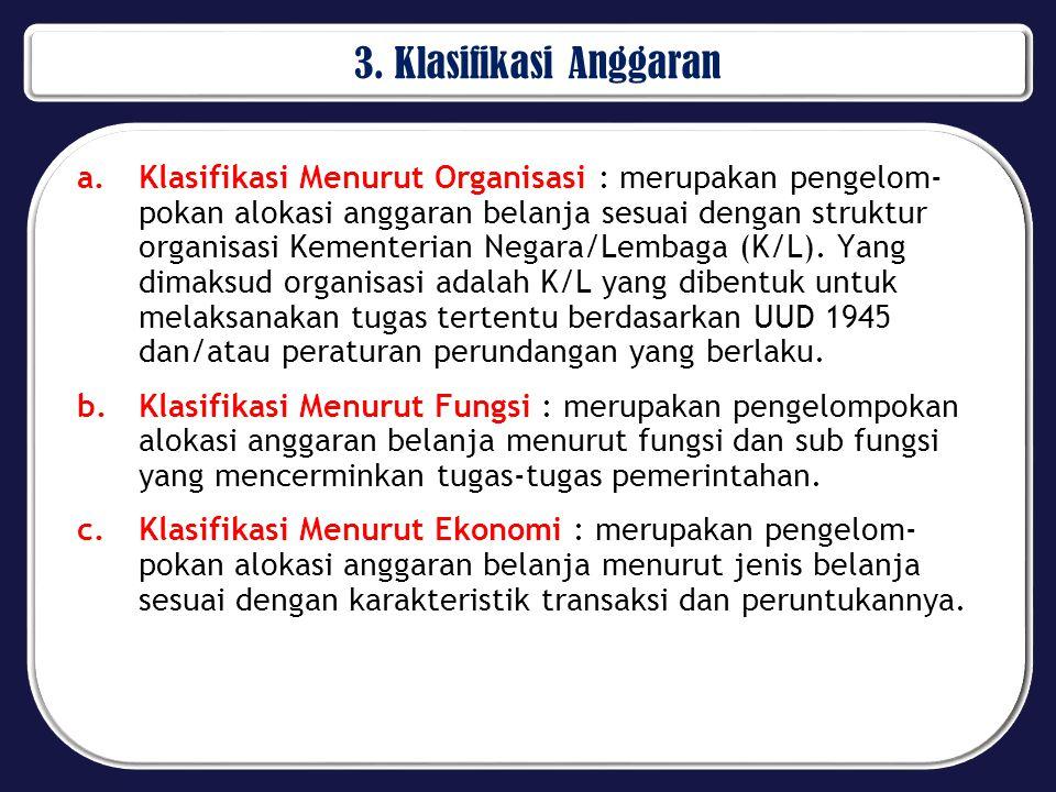 3. Klasifikasi Anggaran
