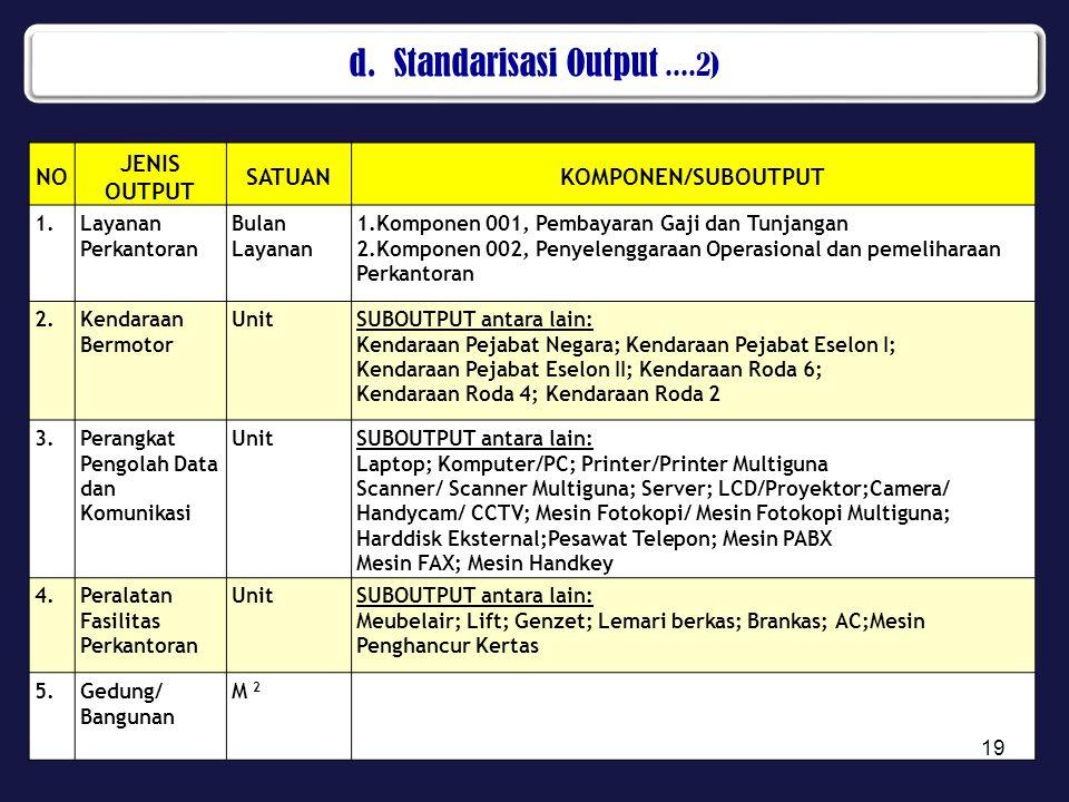 d. Standarisasi Output ....2)