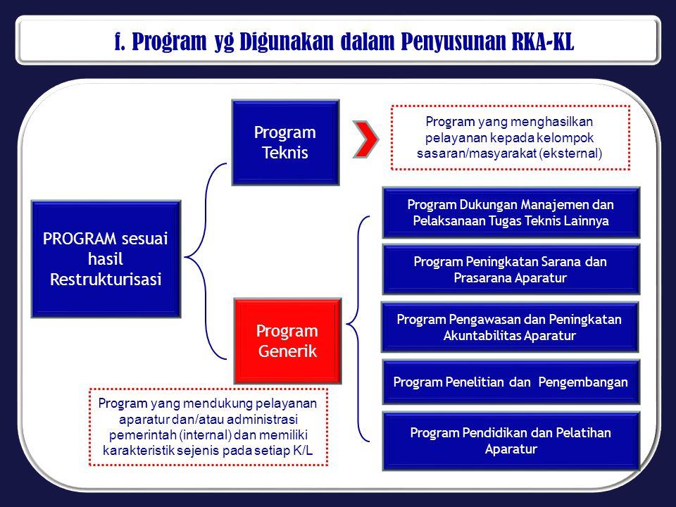f. Program yg Digunakan dalam Penyusunan RKA-KL