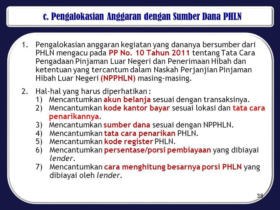 c. Pengalokasian Anggaran dengan Sumber Dana PHLN