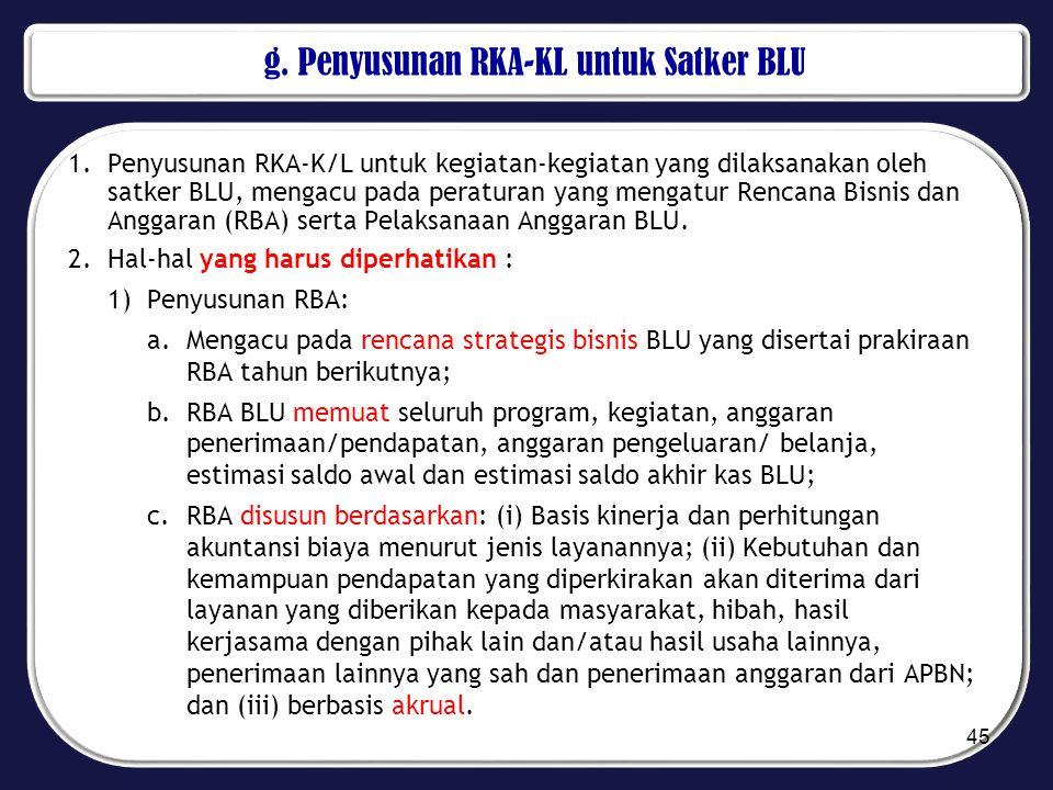 g. Penyusunan RKA-KL untuk Satker BLU