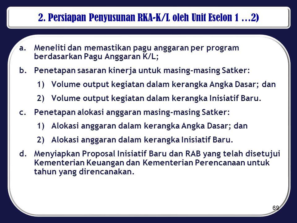 2. Persiapan Penyusunan RKA-K/L oleh Unit Eselon 1 …2)