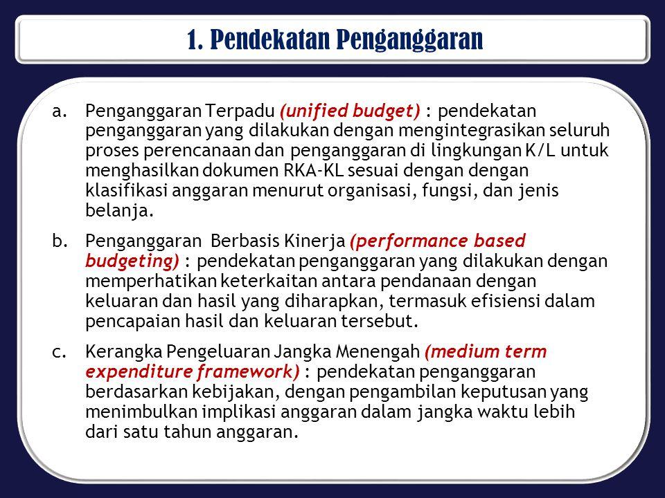 1. Pendekatan Penganggaran