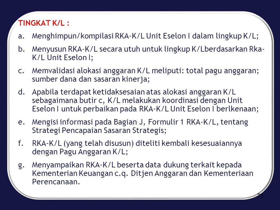 TINGKAT K/L : Menghimpun/kompilasi RKA-K/L Unit Eselon I dalam lingkup K/L;