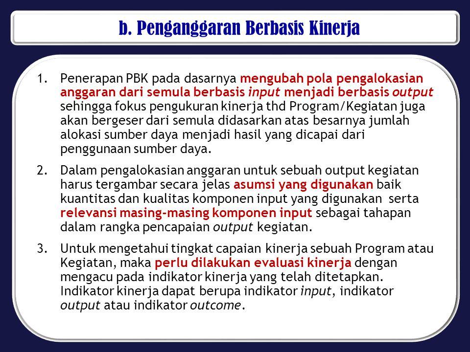 b. Penganggaran Berbasis Kinerja