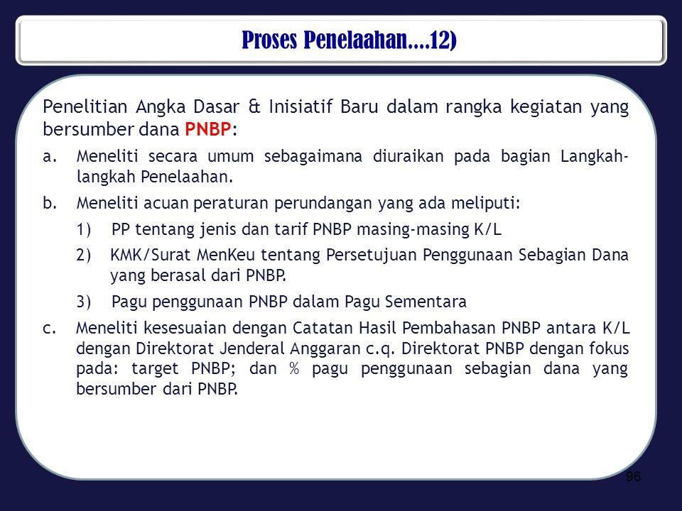 Proses Penelaahan....12) Penelitian Angka Dasar & Inisiatif Baru dalam rangka kegiatan yang bersumber dana PNBP: