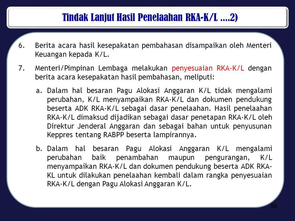 Tindak Lanjut Hasil Penelaahan RKA-K/L ....2)