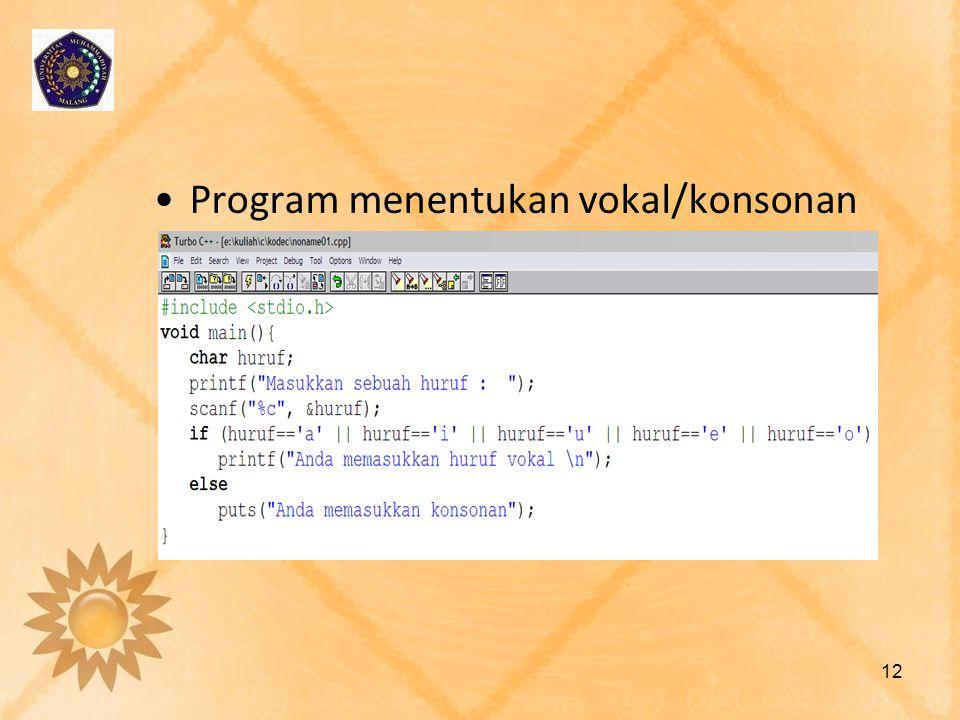 Program menentukan vokal/konsonan