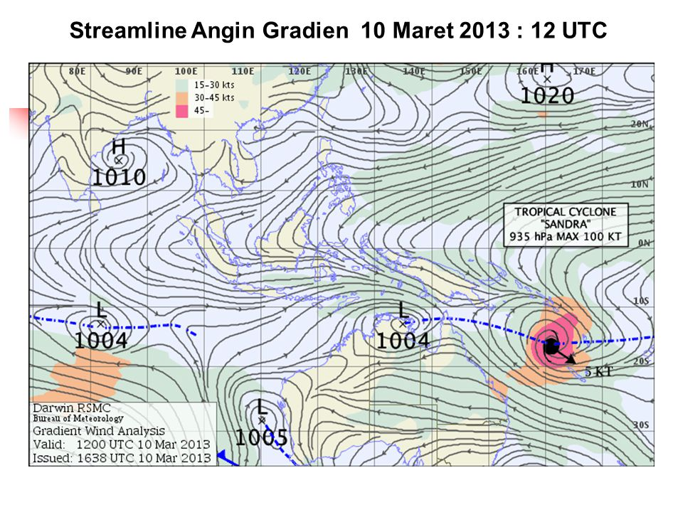Streamline Angin Gradien 10 Maret 2013 : 12 UTC