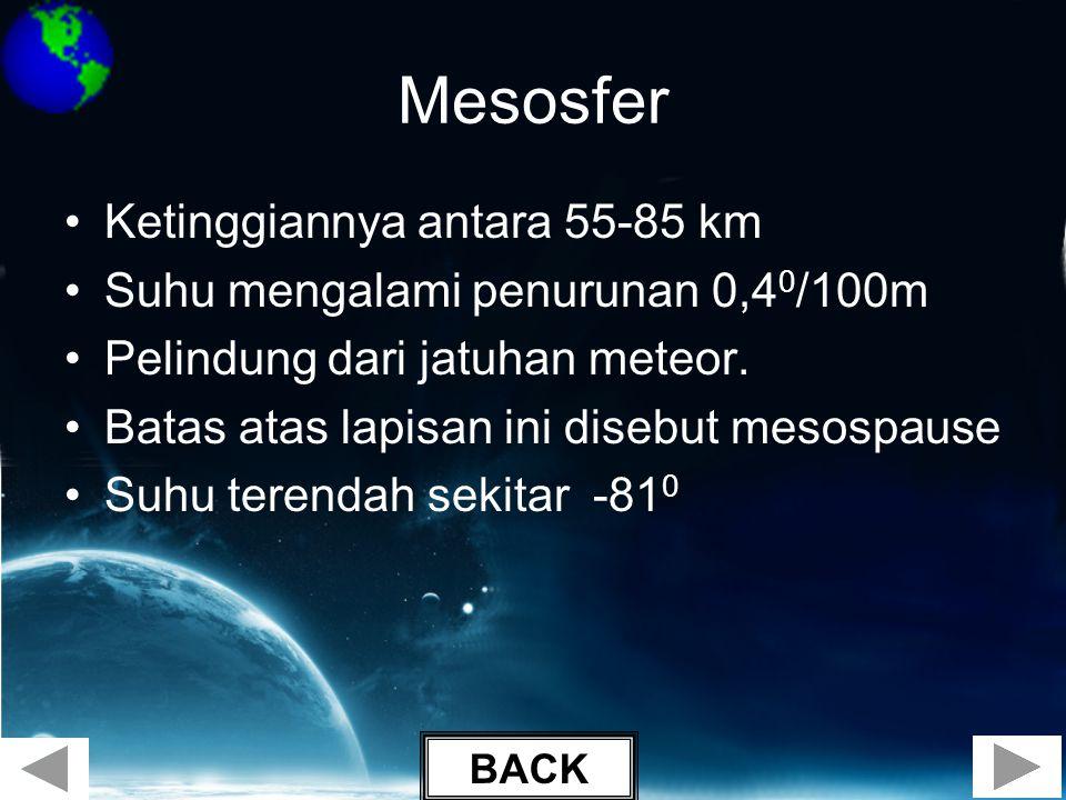 Mesosfer Ketinggiannya antara 55-85 km