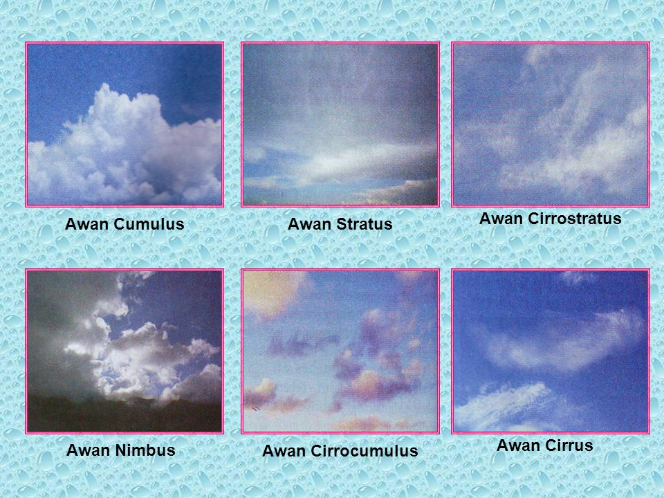 Awan Cirrostratus Awan Cumulus Awan Stratus Awan Cirrus Awan Nimbus Awan Cirrocumulus